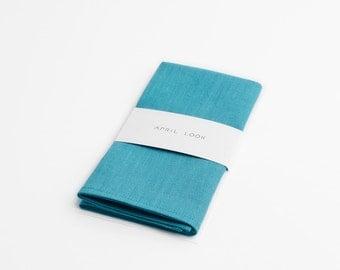 Aqua blue pocket square, Ocean blue pocket square, Handkerchief, Linen pocket square, Pocket square for jacket, shirts and coat, Turquoise