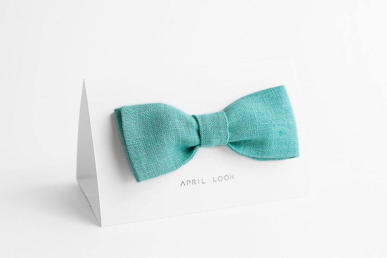 Light aqua bow tie Light teal bow tie Bright aqua bow tie image 0