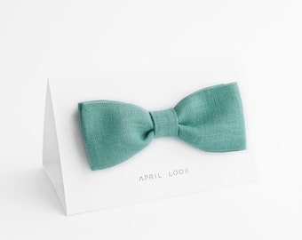 Mint green bow tie, Green bowtie, Gift for Husband, Groomsmen Present, Light green bow tie, Bow tie and pocket square, Linen bow tie, Fliege