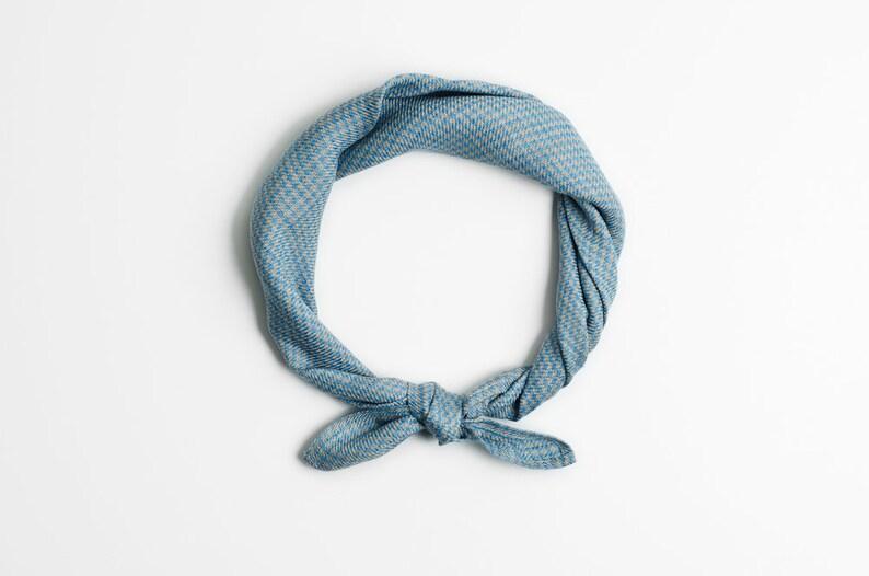 Stylish bandana with light blue pattern Bandana Grey and image 0