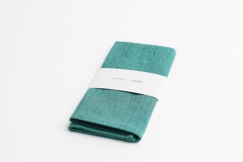 Teal green pocket square Ocean blue pocket square Pine green image 0