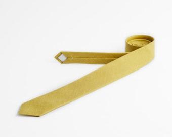 Yellow green tie, Skinny tie, Linen tie, Olive yellow tie, Husband gift, Solid yellow tie, Wedding tie, Mustard yellow tie, Neckties for men