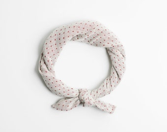 Polka dot bandana scarf, Beige scarf, Turban headband, Neutral headband