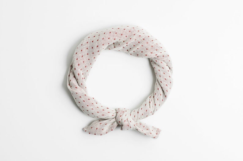 Polka dot bandana scarf Beige scarf Turban headband Neutral image 0