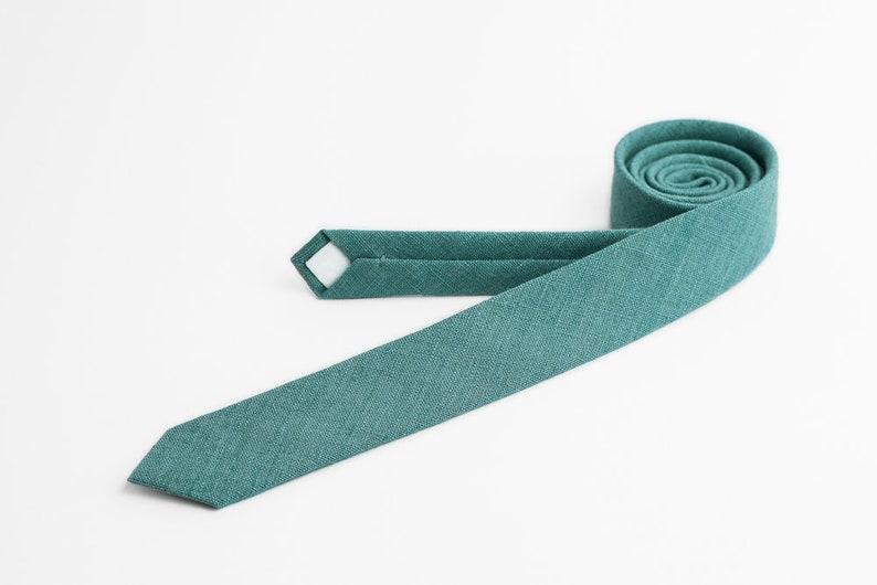 Wedding teal green tie Skinny tie Green tie Emerald tie image 0