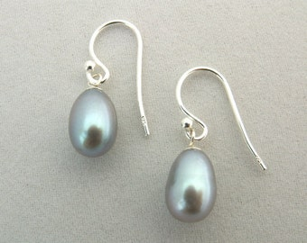 Lavender Freshwater Pearl and Sterling Silver Drop Earrings
