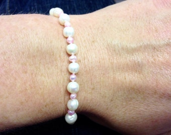 Pale Pink and White Freshwater Pearl Bracelet