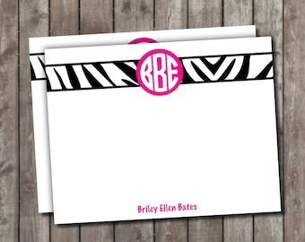 Monogrammed Zebra Stationery