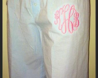 Monogrammed Seersucker Pajama Pants