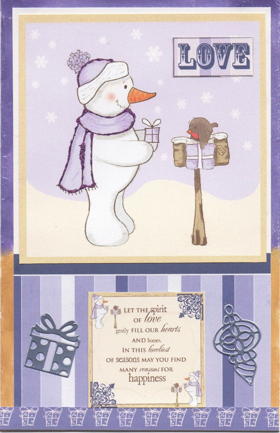 Debbie Moore christmas cd rom card. purple christmas card | Etsy