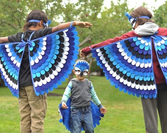 Blue Jay Costume Set / Wings and Mask / Made in USA / Eco-Friendly / Made from recycled plastic bottles /Available in all sizes /Tree + Vine