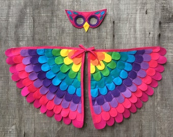 Pink Rainbow Owl Costume Set / Owl mask with fun flappable wings / kids owl costume / adult owl costume / eco-friendly and  handmade in USA