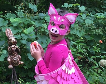 When Pigs Fly Costume Set / Mask, flappable wings and curly tail / 3 piece set / Pig Costume / Flying Pig / Pig Mask, Pig Tail, Pig Wings