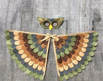 Owl Costume // Wings and Mask // Olive and Brown // Owl Gift // Bird Gift //Soft flappable wings amazing in flight! : owl costume wings  - Germanpascual.Com