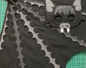 Black Bat Costume Set / Bat Mask and fun flappable wings / Fly like a bat / Kids bat costume / bat wing/ black bat costume / Tree + Vine