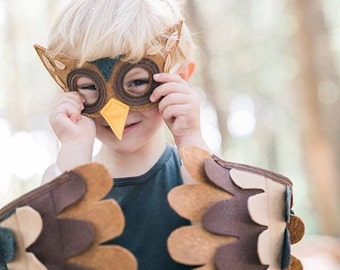 Owl Costume// Wings and Mask: 3-5 years / 5-10 years / Teen/Adult sizes- Eco Friendly! Tree + Vine
