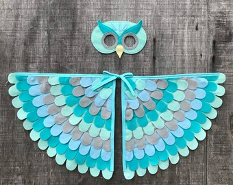Owl Costume / Wings and Mask / Little Owl Costume / Blue and Gray  / Child and Adult sizes // Eco Friendly! Made in the USA