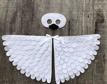 Baby Swan Costume / Wings and Mask / Gosling Costume / White Baby Duck Disguise / Child and Adult sizes // Eco Friendly! Made in the USA