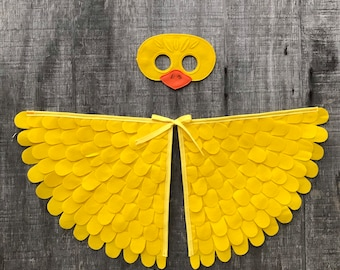 Baby Duck Costume / Wings and Mask / Duckling Costume / Yellow Duck Disguise / Child and Adult sizes // Eco Friendly! Made in the USA