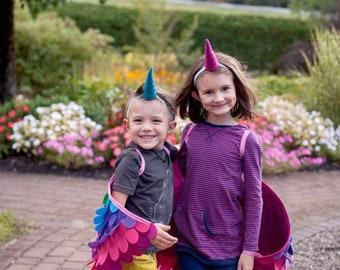 Rainbow Unicorn Costume Set / Alicorn Costume / Flying Unicorn Costume / Wings and horn / flying rainbow fun / sibling costume / magical