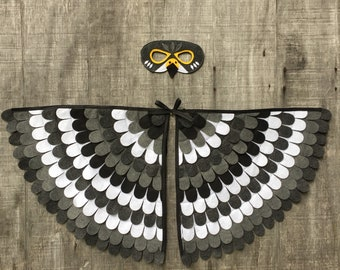 Falcon Costume Set / Wings and Mask / Peregrine Falcon Costume / Child and Adult sizes / Made in the USA from recycled plastic bottles, yay!