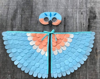 Blue Bird Costume Set // Wings and Mask // Light Blue or Dark Blue // Owl Gift // Bird Gift //Soft flappable wings, amazing in flight!