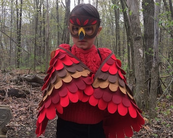 Red Tail Hawk Costume Set / Wings and Mask / Made in USA / Eco-Friendly / Made from recycled plastic bottles /lots of sizes /Tree + Vine