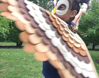 Barn Owl Costume// Wings and Mask: 0-24 months/ 2-5 years / 5-10 years- Eco Friendly! Tree + Vine