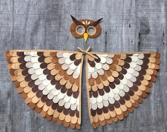 Owl Costume// Wings and Mask: 0-24 months/ 2-5 years / 5-10 years- Eco Friendly! Tree + Vine