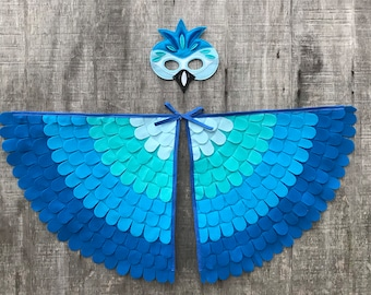Blue Macaw Parrot Costume // Parrot Costume Set  // Blue Macaw Wings and Mask // Flappable Flying Fun // Tree + Vine