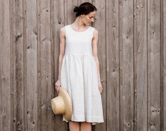 4ce58a5e01d13 White Linen Dress, White Summer Dress, White Tank Dress, Plus Size Clothing,  Smock Dress, Sleeveless Dress / Smock NS, Symphony white