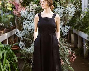 Pinafore Linen Dress - Black Linen Dress - Renaissance Dress - Organic Linen Wear - Vintage, Minimalist Style - Black Cottagecore Dress