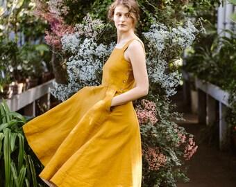 Sleeveless Summer Dress - Yellow 70's Dress - Vintage Style Dress - Minimalist Linen Style - Linen Clothes -Linen Midi Dress -Pinafore Dress