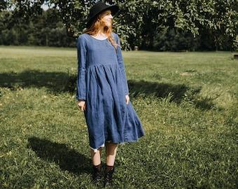 Blue Linen Dress, Denim Dress, Modest Dress With Sleeves, Maxi Linen Dress, Plus Size Linen Dress, Linen Clothing / Denim Smock Dress LS