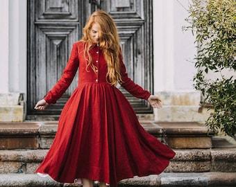 Red Dress - Red Linen Dress - Boho Maxi Dress - Long Sleeve Son de Flor Dress - Cottagecore Dress -Romantic Renaissance Dress -Classic Dress