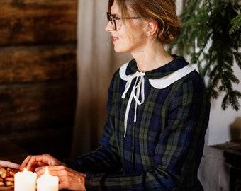 White Linen Collar, Detachable Collar, Festive Accessories, Gift for Her, Handmade, Baltic Linen, High Quality, Timeless/Peter Pan Collar