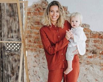 Women's Linen Blouse - Casual Clothes - Women's Long-sleeved Blouse - Cottagecore Blouse - Comfortable Mandarin Collar Shirt, Terracotta Red