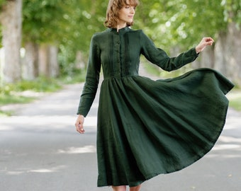 Edwardian Linen Dress - Vintage Style - Mandarin Collar Dress - Linen Midi Dress -  Elegant Dark Green Fall Dress - Evergreen - Elisa Dress