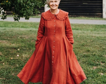 Linen Terracotta Dress - Large Collar Linen Dress - Oversize Collar Dress - Linen Cottagecore Dress - 70s Clothing - Vintage - Nicole Dress