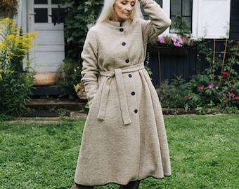 Wool Coat - Button Down Long Sweater - Wool Clothes - Cozy, Fleece Coat - Timeless Style - Wool Wear - Warm Wool Coat - Classic Coat, Beige