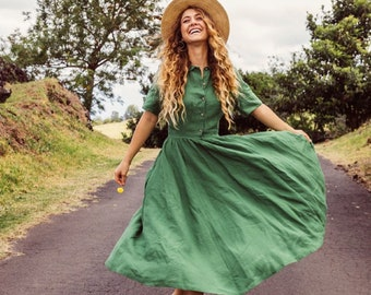 Women Vintage Dresses,Midi Dresses,Linen Dresses,Short Sleeve Dresses,Summer Linen Dresses,Spring Green Dress,Sustainably Made/Classic Dress