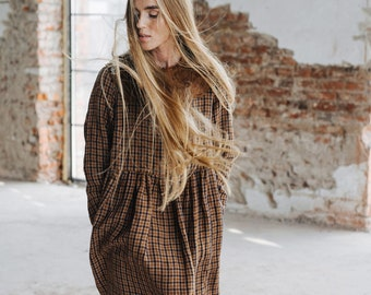 Autumn Smock Dress - Long Sleeve Smock Dress - Checkered Smock Dress - Long Linen Dress - Dress with Pockets - Malala Dress, Brown Checkers
