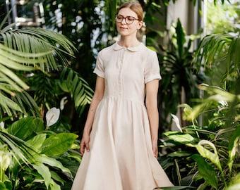 Floral Linen Dress Summer Linens Floral Dress Women/'s Linen Dresses Softened Linens Midi DressClassic Dress Vintage Style Sondeflor