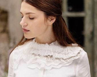 Handmade Collar,Elegant,Versatile,Linen Accessory,Unique,Limited Edition,Bridal Attire,Detachable Collar,Vinatge,Lace Collar/Daffodil Collar