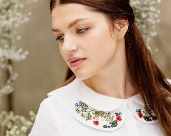 Detachable Collar,White Linen Collar,Embroidered,Elegant & Timeless,Baltic Linen,Bridal Attire,Bib Collar,Garden Embroidery/Peter Pan Collar