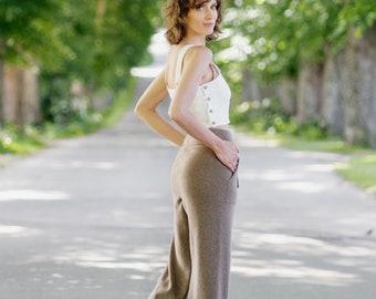 Wool Pants for Women - Merino Wool Pants - Merino Wool Clothes - Fall Clothes - 100% Merino Wool - Casual Wool Pants - Willow Pants, Brown