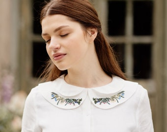 Embroidered Collar, Linen Dress Collar,Detachable,Versatile & Timeless,European Linen, Bib Collar, 1950's,Meadow Embroidery/Peter Pan Collar