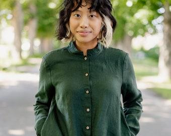 Mandarin Collar Women's Top - Linen Clothing - Linen Long-sleeved Blouse - Green High Neck Top -Comfortable Mandarin Collar Shirt, Evergreen