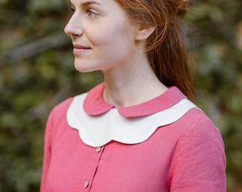 Linen Collars, Detachable Collars, Women's Neck Accessories, Detachable White Collars, 1950's Accessories, Vintage Collars/Magnolia Collar