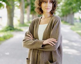 Merino Wool Cardigan - Oversized Wool Cardigan - Cottagecore Cardigan - Cardigan Women Long - Fall Clothes - Willow Cardigan, Warm Brown